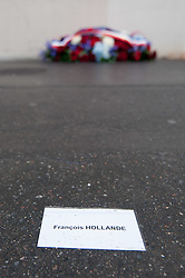 © London News Pictures. Rue Nicolas Appert, Paris, France, 05 December 2016: Plaque unveiled at the Charlie Hebdo offices a year after the shooting commemorating the 11 dead at the satirical magazine. The name of one of the victims, Georges Wolinski, was misspelled on on the memorial  - a replacement plaque hsa been promised by the Mayors office. Separate plaques were installed at the spot where police officer Ahmed Merabet was shot by the fleeing Kouachi brothers on nearby Boulevard Richard-Lenoir, and at the Hyper Cacher supermarket where Amedy Coulibaly killed four hostages two days after the Charlie Hebdo attack.