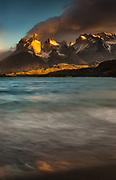 Cuernos del Paine at dawn, Lago Pehoe, Parque Nacional Torres del Paine, Patagonia, Chile.