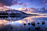 Winter sunset over Lake Tahoe, CA.
