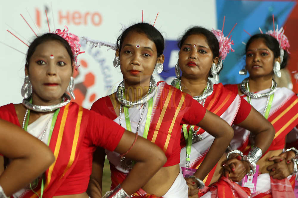 Local performers entertain the crowd during match 25 of the Hero Indian Super League 2018 ( ISL ) between Jamshedpur FC and FC Goa held at JRD Tata Sports Complex, Jamshedpur, India on the 1st November  2018<br /> <br /> Photo by: Ron Gaunt /SPORTZPICS for ISL