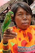 Indígenas guna / comarca de Guna Yala, Panamá.<br /> <br /> Mujer indígena con loro verde.