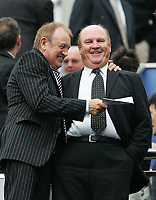Photo. Andrew Unwin, Digitalsport<br /> Newcastle United v Crystal Palace, Barclays Premiership, St James' Park, Newcastle upon Tyne 30/04/2005.<br /> Newcastle's chairman, Sir Freddy Shepherd, shares a happy moment before the game.