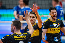 Frits van Gestel of Dynamo celebrate during the second final league match between Amysoft Lycurgus vs. Draisma Dynamo on April 24, 2021 in Groningen.