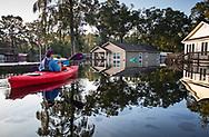 Jane Ochsenbein kayaking in Hurricane Florence's floodwaters in Socastee, South Carolina.