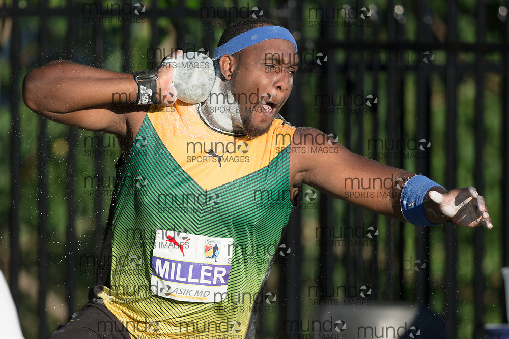 Toronto, ON -- 10 August 2018: Ashinia Miller (Jamaica), shot put at the 2018 North America, Central America, and Caribbean Athletics Association (NACAC) Track and Field Championships held at Varsity Stadium, Toronto, Canada. (Photo by Sean Burges / Mundo Sport Images).