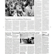 """Tearsheet of """"US homeland security at Shannon Airport"""" published in The International Herald Tribune"""
