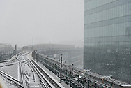 New York, Queens under the snow view from the seven elevated subway. on the queensborro bridge