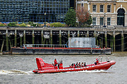People appear to be having fun in a Boat tour in River Thames in Central London as Pubs reopen welcoming back customers for the first time after the COVID-19 lockdown in London, Saturday, July 4, 2020. England is embarking on perhaps its biggest lockdown easing yet as pubs and restaurants have the right to reopen for the first time in more than three months. (VXP Photo/ Vudi Xhymshiti)