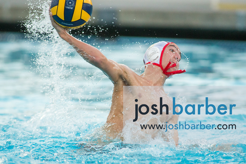 Redlands East Valley's Chad Gornay (9) during the CIF-SS Division 5 Boy's Water Polo Final at Woollett Aquatic Center on Saturday, November 21, 2015 in Irvine, California. (Photo/Josh Barber)