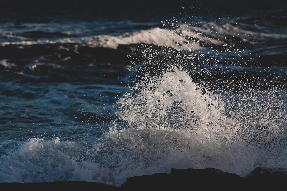 Waves splashing along the rocky coast of Cape Neddick.