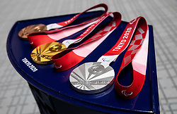 ASAKA, JAPAN - AUGUST 30: Set of Paralympic medals at medal ceremony after the R4 - Mixed 10m Air Rifle Standing SH2 Final on Day 6 of the Tokyo 2020 Paralympic Games at Asaka Shooting Range, Asaka, Japan.  Photo by Vid Ponikvar / Sportida