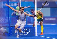 TOKIO - Florent van Aubel (Bel) heeft 1-0 gescoord tijdens de hockey finale mannen, Australie-Belgie (1-1), België wint shoot outs en is Olympisch Kampioen,  in het Oi HockeyStadion,   tijdens de Olympische Spelen van Tokio 2020. COPYRIGHT KOEN SUYK