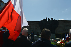 May 1, 2019 - Krakow, Poland - Representatives of leftist circles met at Daszynski Avenue to celebrate May Day outside the Monument to the Military Actions of the Proletariat in Krakow. .On Wednesday, May 1, 2019, in Krakow, Poland. (Credit Image: © Artur Widak/NurPhoto via ZUMA Press)