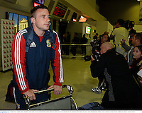 3 June 2013; Tommy Bowe, British & Irish Lions, at Perth International Airport upon the squad's arrival in Australia for the British & Irish Lions Tour 2013. Perth International Airport, Perth, Australia. Picture credit: Stephen McCarthy / SPORTSFILE