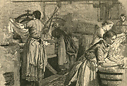 Women at work in a commercial laundry, Kensal Green, London.  Engraving, 1883