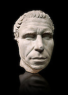 Roman portrait bust from circa 30 BC excavated from the Valle Giardino, Nemi, Rome. The appearance of an adult man with an energetic, dominating expression, is artistically and crisply represented in this portrait. The treatment of the eyebrows and hair suggest that this statue is the copy of a bronze original. The head is a fusion of the realistic style from the period of Caesar and the classic works of the Augustan age . Inv 66177, The National Roman Museum, Rome, Italy .<br /> <br /> If you prefer to buy from our ALAMY PHOTO LIBRARY  Collection visit : https://www.alamy.com/portfolio/paul-williams-funkystock/roman-museum-rome-sculpture.html<br /> <br /> Visit our ROMAN ART & HISTORIC SITES PHOTO COLLECTIONS for more photos to download or buy as wall art prints https://funkystock.photoshelter.com/gallery-collection/The-Romans-Art-Artefacts-Antiquities-Historic-Sites-Pictures-Images/C0000r2uLJJo9_s0