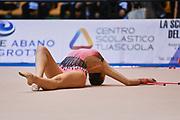 Martina Scarsella atleta della Società Ritmica Nervianese durante la seconda prova del Campionato Italiano di Ginnastica Ritmica.<br /> La gara si è svolta a Desio il 31 ottobre 2015.
