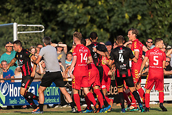 the match was some moments unfriendly (L) coach Adrie Poldervaart of Excelsior takes Luigi Bruins of Excelsior off the pitch during the Friendly match between Go Ahead Eagles and Excelsior Rotterdam at sportcomplex SV Terwolde on July 20, 2018 in Terwolde, The Netherlands