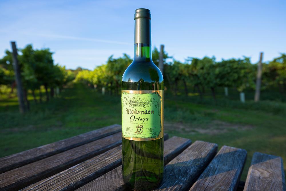 Bottle of English Ortega white wine produced at Biddenden English Vineyards Ltd in Kent, United Kingdom