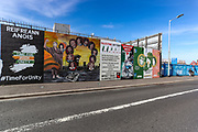 A mural in West Belfast pictured on Thursday, April 22, 2021. Communities in Belfast are separated by a wall up to six metres high. Gates along its length that are still locked at night and artwork painted on either side that talks of harmony in the West but with messages of revenge or oppression in the East. (Photo/ Vudi Xhymshiti)