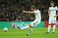 Harry Kane of Tottenham Hotspur taking a free kick. UEFA Champions league match, group E, Tottenham Hotspur v CSKA Moscow at Wembley Stadium in London on Wednesday 7th December 2016.<br /> pic by John Patrick Fletcher, Andrew Orchard sports photography.