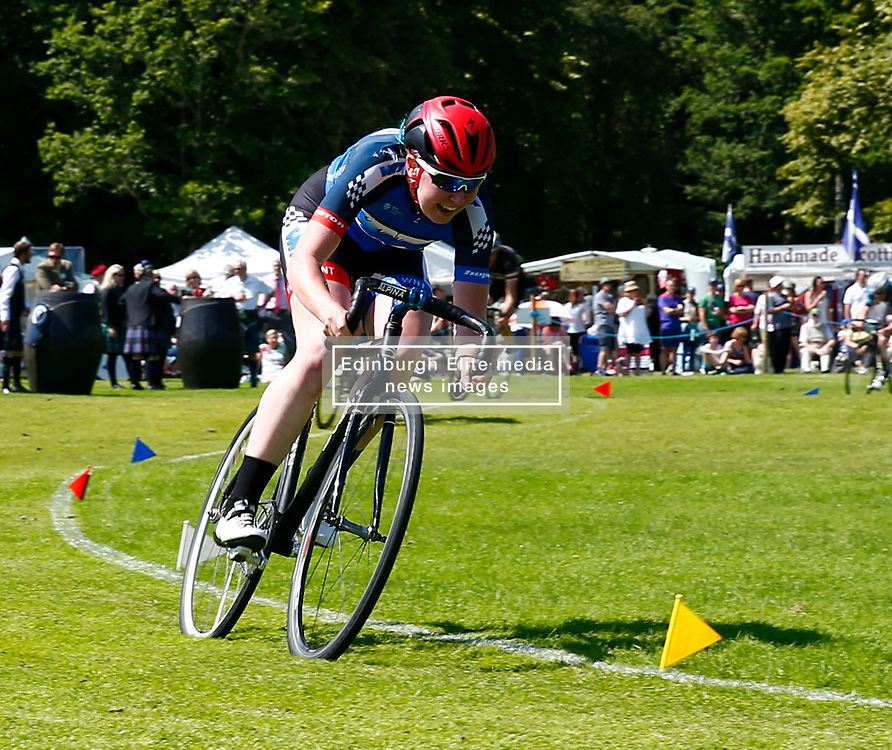 Inveraray Highland Games held in the grounds of Inveraray Castle feature many competitions including piping, highland dancing, field events as well as the usual heavy events.Katie Archiebald MBE and gold medalist competing in the cycling events..... (c) Stephen Lawson | Edinburgh Elite media