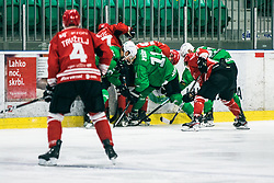 OREHEK Janez of HDD Olimpija vs Andrej Tavzelj of HDD Jesenice during 500th derbi between HK SZ Olimpija Ljubljana vs HDD SIJ Acroni Jesenice  - AHL 2019/20, on the 26th of  Oktober, Ljubljana, Slovenia. Photo by Matic Ritonja / Sportida