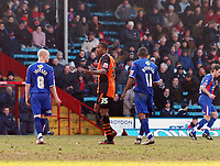 Photo: Kevin Poolman.<br />Crystal Palace v Ipswich Town. Coca Cola Championship. 18/03/2006. <br />Ipswich's Ricardo Fuller talks to Andrew Johnson (L) after he was sent off.