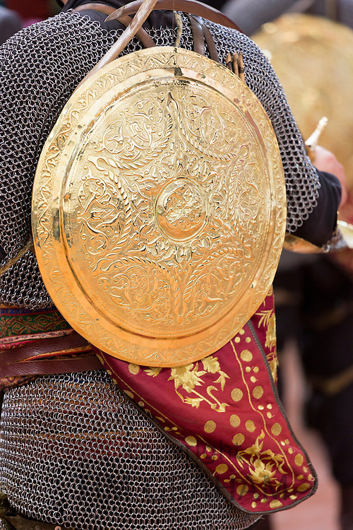Ottoman historical Janissary soldier with body armour and shield at Military Museum at Harbiye, Istanbul, Turkey