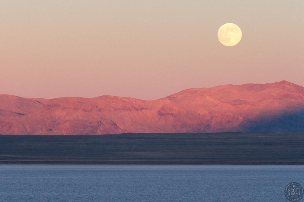 """""""Full Moon at Pyramid Lake, Nevada"""" - This full moon was photographed at sunset at Pyramid Lake in Nevada."""