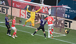 Bristol City's Luke Ayling comes close with a header. - Photo mandatory by-line: Alex James/JMP - Mobile: 07966 386802 - 25/01/2015 - SPORT - Football - Bristol - Ashton Gate - Bristol City v West Ham United - FA Cup Fourth Round