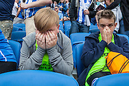 Tears of frustration at the final whistle during the live beamback at the American Express Community Stadium in Brighton of the Sky Bet Championship match between Middlesbrough and Brighton and Hove Albion at the Riverside Stadium, Middlesbrough, England on 7 May 2016. Photo by Bennett Dean.