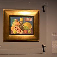 A still life by Mexican painter Frida Kahlo titled I Belong to Samuel Fastlicht is seen on display at the Frida Kahlo exhibition in the National Gallery in Budapest, Hungary on July 5, 2018. ATTILA VOLGYI