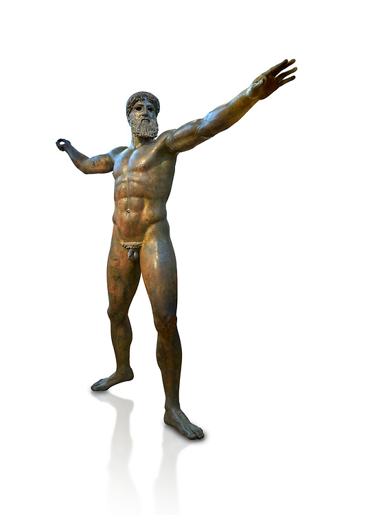 Early classical ancient Greek bronze statue of Zeus or Poseidon, circa 450 BC. Athens National Arcjaeological Museum, cat no X15161. White background<br /> <br /> This bronze statue was found in the sea off Cape Artemision in northern Euobea. Zeus or Poseidon is shown making a great stride. His lefy arm is extended forward and his righy arm extends back which would have held a thunderbolt, if Zeus, or a trident if Poseidon. The identification of the statue is controversial though it ios more likely Zeus. <br /> <br /> It is one of the few preserved original statues of Severe Style, notable for the exuisite rendering of motion and anatomy. Iy is certainly the work of a great sculptor of the early ancient Greek Classical period .<br /> <br /> If you prefer to buy from our ALAMY STOCK LIBRARY page at https://www.alamy.com/portfolio/paul-williams-funkystock/greco-roman-sculptures.html . Type -    Athens    - into LOWER SEARCH WITHIN GALLERY box - Refine search by adding a subject, place, background colour, etc.<br /> <br /> Visit our ROMAN WORLD PHOTO COLLECTIONS for more photos to download or buy as wall art prints https://funkystock.photoshelter.com/gallery-collection/The-Romans-Art-Artefacts-Antiquities-Historic-Sites-Pictures-Images/C0000r2uLJJo9_s0
