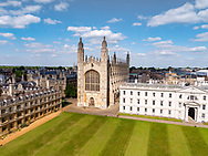 Aerial drone view of King's College Cambridge in England UK. King's College is a constituent college of the University of Cambridge. King's was founded in 1441 by Henry VI soon after he had founded its sister college in Eton. The building of the college's chapel, begun in 1446, was finally finished in 1544 during the reign of Henry VIII. King's College Chapel is regarded as one of the greatest examples of late Gothic English architecture.