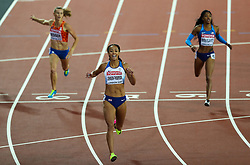London, 2017 August 05. Katarina Johnson-Thompson wins the 4th heat of the women's 200m heptathlon at the IAAF World Championships London 2017. © Paul Davey.