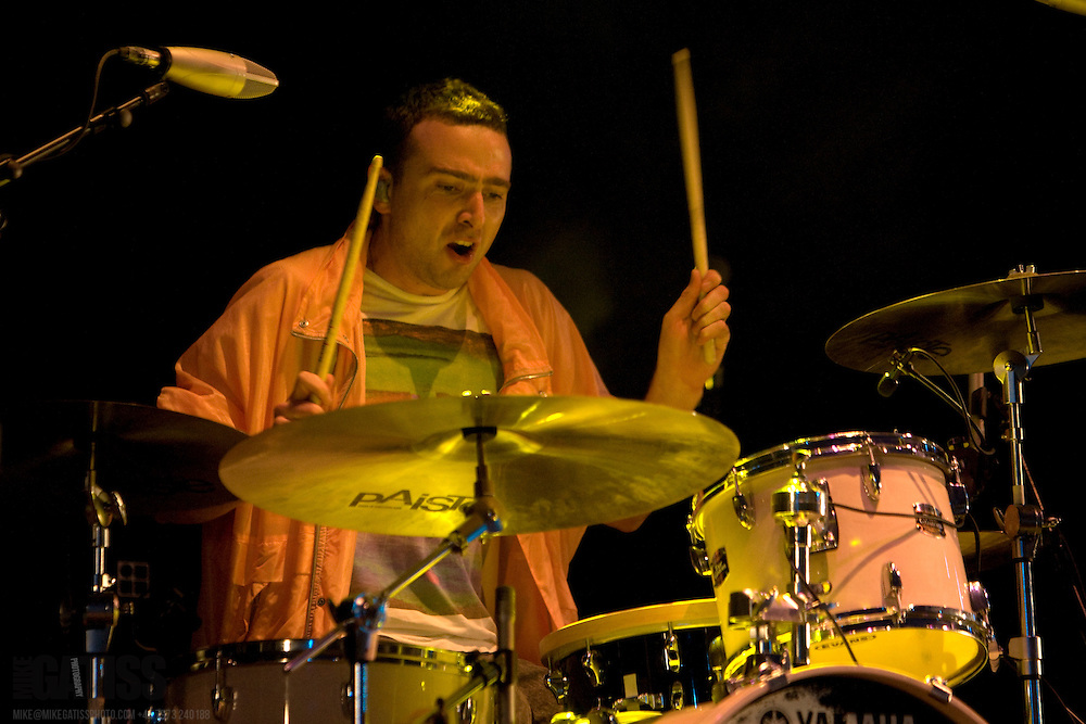 Kim Moyes, drummer with the Presets, performs live at Becks Fusions 2008, , Manchester, United Kingdom. 5th September 2008