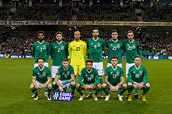 DUBLIN, IRELAND - Tuesday, October 16, 2018: Republic of Ireland players line-up for a team group photograph before the UEFA Nations League Group Stage League B Group 4 match between Republic of Ireland and Wales at the Aviva Stadium. Back row L-R: Cyrus Christie, Matthew Doherty, goalkeeper Darren Randolph, Shane Duffy, Kevin Long, captain Richard Keogh. Front row L-R: Harry Arter, James McClean, Callum Robinson, Jeff Hendrick, Aiden O'Brien. (Pic by Paul Greenwood/Propaganda)