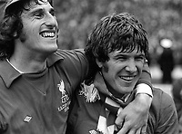 Fotball<br /> England <br /> Foto: Colorsport/Digitalsport<br /> NORWAY ONLY<br /> <br /> Ray Clemence and Captain Emlyn Hughes celebrate victory.  Liverpool v Newcastle United, FA Cup Final, Wembley Stadium, 4/05/1974