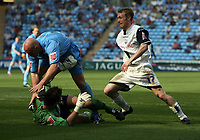 Photo: Rich Eaton.<br /> <br /> Coventry City v Preston North End. Coca Cola Championship. 14/04/2007. Brett Ormerod right of Preston seizes on a mix up between Coventry keeper Andy Marshall and defender Robert Page to score Prestons 4th goal