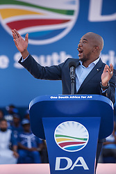 May 4, 2019 - Johannesburg, South Africa - South African main opposition party Democratic Alliance (DA) leader Mmusi Maimane addresses the crowd at the Dobsonville Stadium in Soweto, Johannesburg, on May 4, 2019 for the last rally ahead of May 8th legislative and presidential elections. (Credit Image: © Michele Spatari/NurPhoto via ZUMA Press)