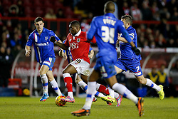 Jay Emmanuel-Thomas of Bristol City is surrounded by Gillingham defenders - Photo mandatory by-line: Rogan Thomson/JMP - 07966 386802 - 29/01/2015 - SPORT - FOOTBALL - Bristol, England - Ashton Gate Stadium - Bristol City v Gillingham - Johnstone's Paint Trophy Southern Area Final Second Leg.