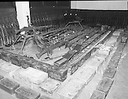 Arms Find In Donegal.   (R72)..1988..01.02.1988..02.10.1988..1st February 1988..Today at Garda Headquarters at the Phoenix Park in Dublin, Gardai put on display a massive array of weapons which were found in Donegal. It was reckoned that the weapons were part of the IRA arsenal which was used to conduct against the British Forces in Northern Ireland...Images show the weapons which were found, 4 Belgian 7.62mm mounted general purpose machine guns topped the list. An amount of Kalishnakov rifles and a massive quantity of ammunition and explosives are also shown