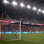 HARRISON, NEW JERSEY- OCTOBER 15: Josef Martinez #7 of Atlanta United just fails to get his head to the ball as goalkeeper Luis Robles #31 of New York Red Bulls prepare to react during the New York Red Bulls Vs Atlanta United FC, MLS regular season match at Red Bull Arena, Harrison, New Jersey on October 15, 2017 in Harrison, New Jersey. (Photo by Tim Clayton/Corbis via Getty Images)