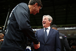 Crystal Palace manager Roy Hodgson (right) and Southampton manager Mauricio Pellegrino greet each other
