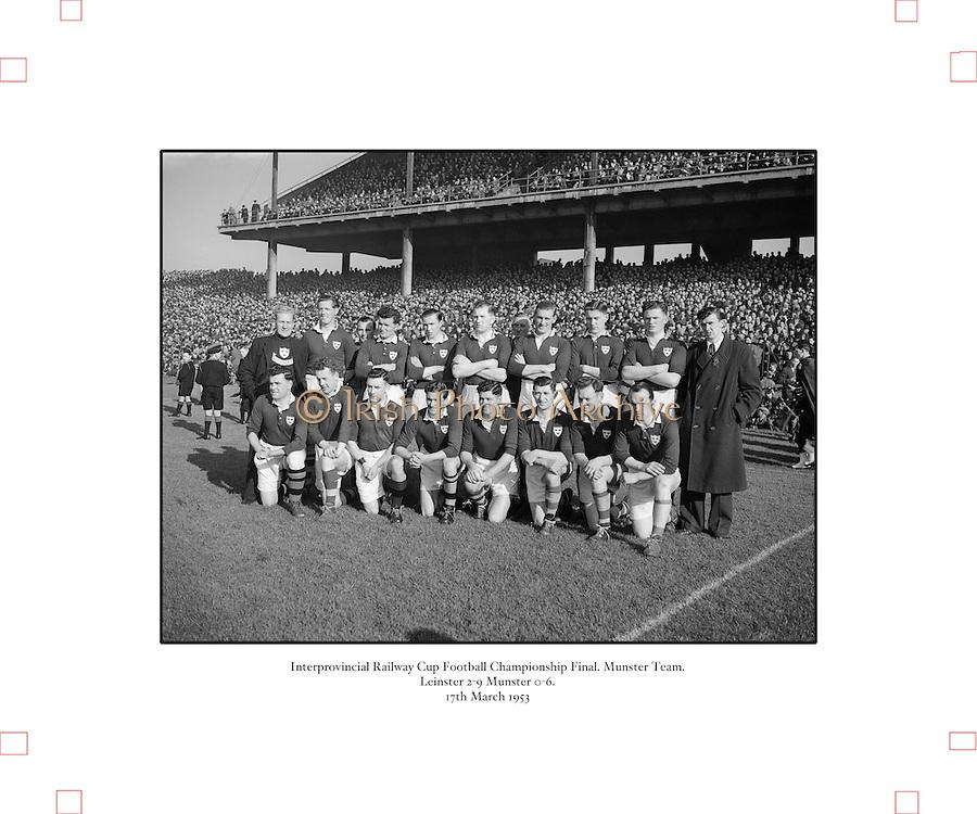 1953.155/2185-2186.17031953IPHCF.17.03.1953.17. March 1953.17. Mar 1953.Interprovincial Railway Cup Football Championship - Munster.Leinster 2-9 | Munster 0-6..FOOTBALL- Wrong folder..................