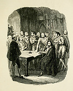 Guy Fawkes Subscribing his examination after torture [confession after torture] From the book ' Guy Fawkes; or, The gunpowder treason. An historical romance ' by William Harrison Ainsworth, with illustrations on steel by  George Cruikshank. Published in London, by George Routledge and sons, limited in 1841. Guy Fawkes (13 April 1570 – 31 January 1606), also known as Guido Fawkes while fighting for the Spanish, was a member of a group of provincial English Catholics who was involved in the failed Gunpowder Plot of 1605. He was born and educated in York; his father died when Fawkes was eight years old, after which his mother married a recusant Catholic.