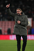 Football - 2017 / 2018 EFL Carabao (League) Cup - Fourth Round : AFC Bournemouth vs. Norwich City<br /> <br /> Norwich City Head Coach Daniel Farke gives a thumbs up to the traveling support after the final whistle at the Vitality Stadium (Dean Court) Bournemouth <br /> <br /> COLORSPORT/SHAUN BOGGUST