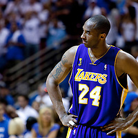 09 June 2009: Kobe Bryant of the Los Angeles Lakers looks dejected during game 3 of the 2009 NBA Finals won 108-104 by the Orlando Magic over the Los Angeles Lakers at Amway Arena, in Orlando, Florida, USA.