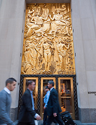 Art Deco decoration on facade of Rockefeller Center in Manhattan in New York City USA